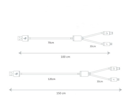 3 foot 3 in 1 usb charging metal data cable with high power for iphone 4s/5/6s/6p and Andriod device