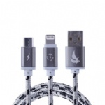 3 foot 2 in 1 usb charging metal data cable with high density braided line body suit for iphone 5s/6s