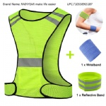 RAINYEAR Hi Vis Vest Reflective Adjustable Gear with Safety Reflector Band Tape Arm Band Wrist Sweatband,for Women Men Safety Sports Night Running Walking Cycling Jogging(1 Vest+1 Armband+1 Wristband)